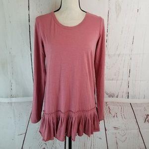 LOGO Lori Goldstein Knit Top Sz XS Pink Ruffle
